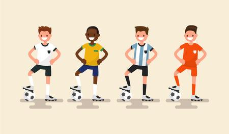 Set van voetballers. Vector illustratie