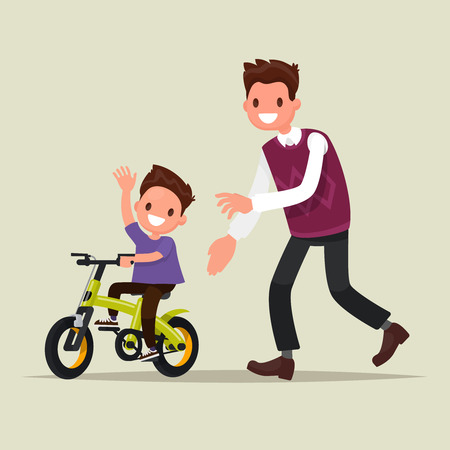 Parenting. The father teaches his son to ride a bicycle. The first bike ride. Vector illustration of a flat design Illusztráció