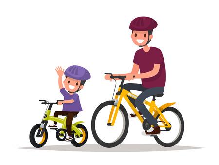 felicidad: Vacaciones activas. El padre y el hijo están montando las bicis. Ilustración vectorial de un diseño plano Vectores