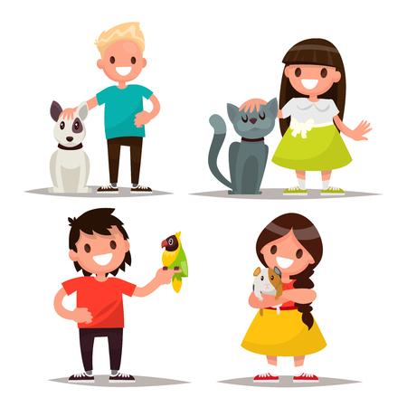 enamorados caricatura: Juego de caracteres. Los niños con los animales domésticos. Ilustración vectorial de un diseño plano Vectores