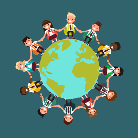 Students of different nationalities around the world. Vector illustration of a flat design