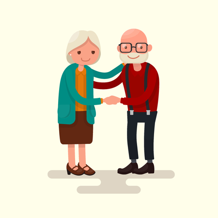 retired: Grandma and Grandpa together holding hands. Vector illustration of a flat design