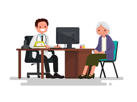 gerontology: Grandmother at the doctor. Vector illustration of a flat design Illustration