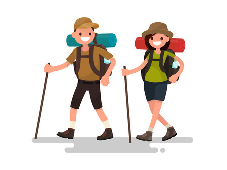 Hiking tourists walk. A young family couple. Vector illustration of a flat design