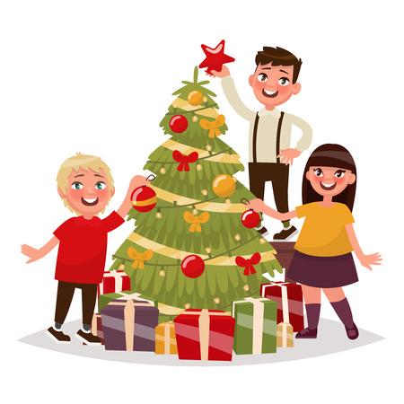 Happy children decorate the Christmas tree. Vector illustration