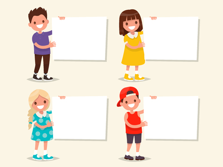 Set of templates. Children hold a board. Vector illustration of a flat design