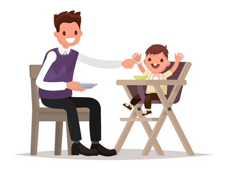 father and child: Child Feeding. Father is  feeding baby sitting in the highchair. Vector illustration of a flat design