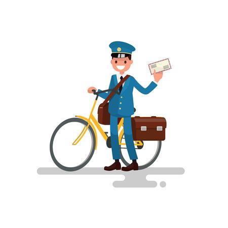 Postino allegro con la bici e la lettera nelle sue mani. Illustrazione vettoriale di un design piatto