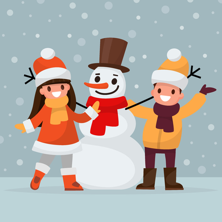 Children make a snowman. Vector illustration of a flat design Ilustracja