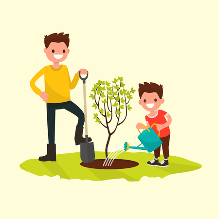 Father and son planting a tree. Vector illustration of a flat design Stock Illustratie