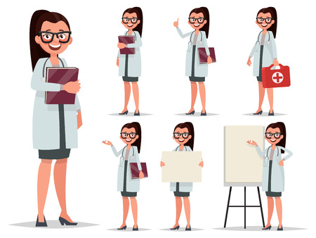 internist: Set character female doctor in various poses. Element for medical information poster.