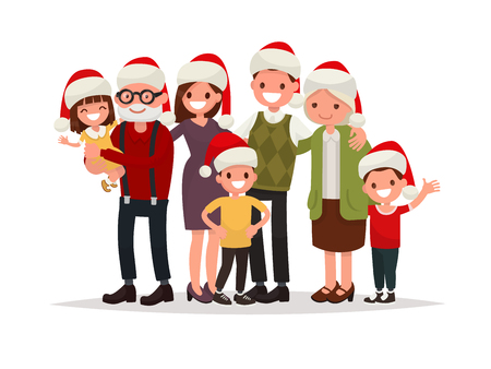 Big happy family in Christmas hats. Grandparents, parents and children together. Vector illustration of a flat design Illustration
