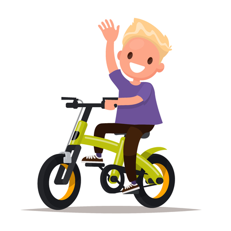 Cheerful boy rides a bicycle. Vector illustration of a flat design