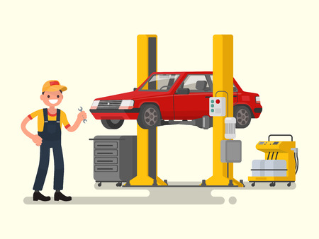 Car repair. Auto mechanic near the car lifted on autolifts. Vector illustration of a flat design Illustration