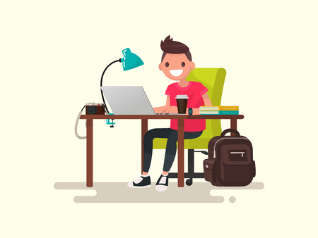 Freelance. Photographer or designer behind a desktop. Vector illustration of a flat design