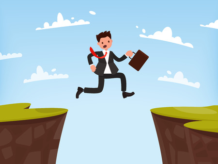 Concept of overcoming obstacles to work. Businessman jumps open. Vector illustration of a flat design