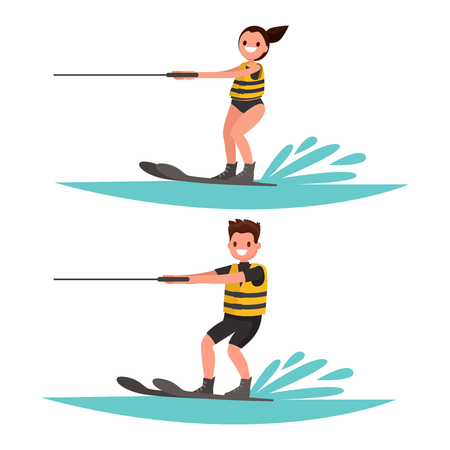 Set man and woman water-ski. Vector illustration of a flat design Vettoriali