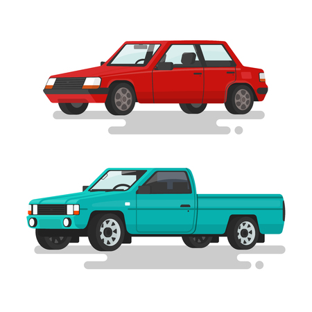 Car sedan and a pickup truck on a white background. Vector illustration of a flat design
