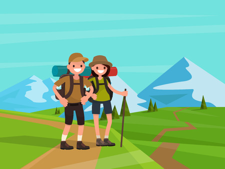 Hiking tourists on a background of mountains. Young family couple. Vector illustration of a flat design