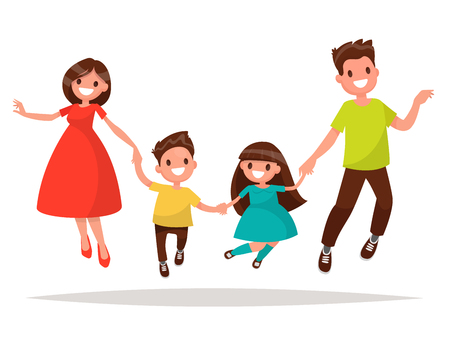 Joyful family is  jumping. Dad mom daughter and son holding hands jumped. Vector illustration of a flat design