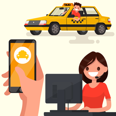 dispatcher: Order a taxi through the app on your phone. Vector illustration of a flat design