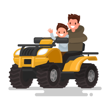Active holidays. Quad biking. Man and boy are riding a quad bike. Vector illustration of a flat design Illustration