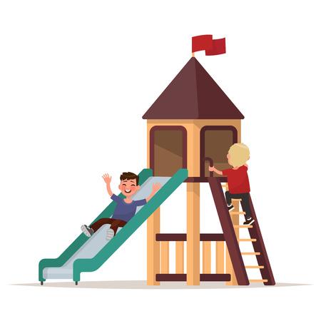 Kinderen spelen op de speelplaats. Vector illustratie Stock Illustratie