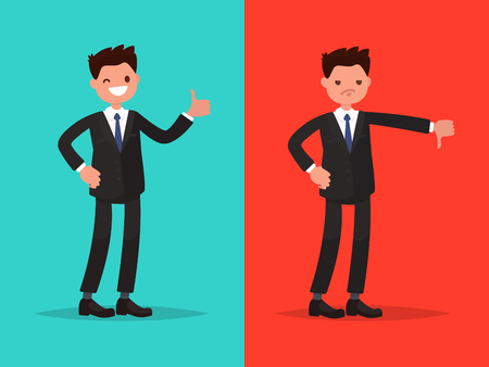 Likes and dislikes. Good and bad. Businessman showing gesture of approval and disapproval Illustration