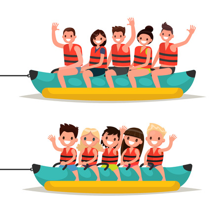 Set adults and children ride on a banana boat. Vector illustration of a flat design