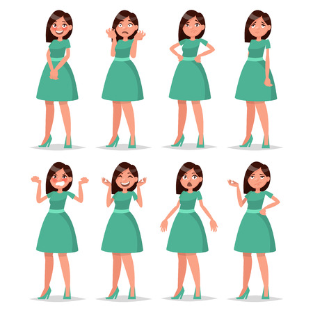 Set girl dressed in a dress with a variety of emotions and poses. Vector illustration Illustration