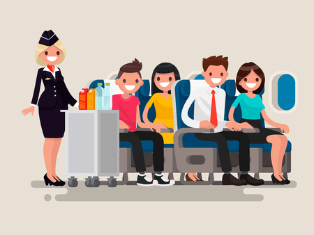Flight attendant serving drinks to passengers on board of the aircraft. Vector illustration of a flat design