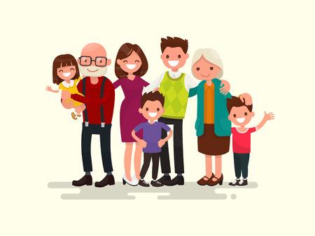 Big family together. Vector illustration of a flat design