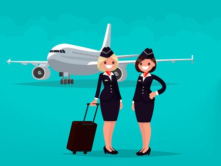 Dos asistentes de vuelo contra el fondo de aviones civiles. Ilustración vectorial de un diseño plano