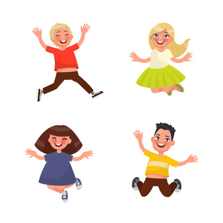 surprisingly: Set of characters jumping children on a white background. Vector illustration