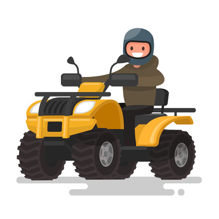 Active holidays. Quad biking. Man in a helmet is riding a yellow ATV. Vector illustration of a flat design