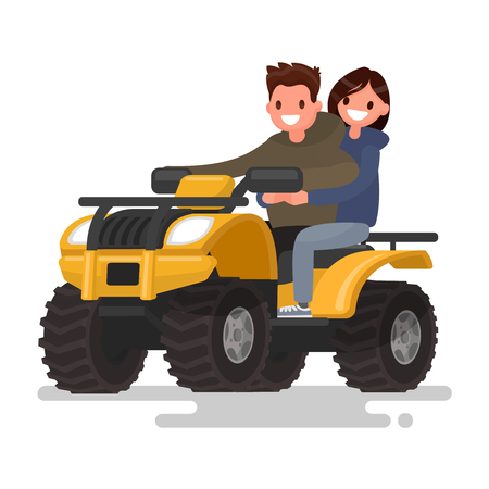 Active holidays. Quad biking. Man and woman are riding a ATV. Vector illustration of a flat design 일러스트
