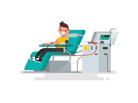 Blood donation. Man donates blood. Vector illustration of a flat design Illustration