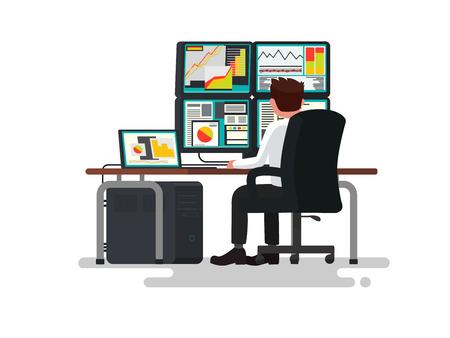 Trader at a desk. Vector illustration of a flat design