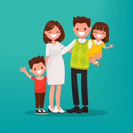 Glückliche junge Familie. Vector Illustration eines flachen Design.