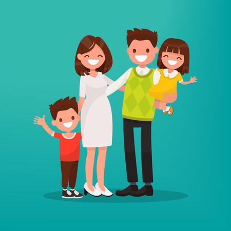 Happy young family. Vector illustration of a flat design. Illusztráció