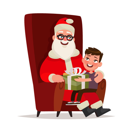 Santa Claus with a child sitting in a chair on a white background. Vector illustration
