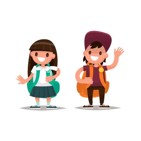 Students Elementary school. Schoolboy and schoolgirl together. Vector illustration of a flat design
