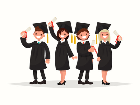 Group of university graduates in black gowns. Vector illustration of a flat design Ilustracja