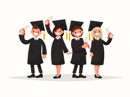 Group of university graduates in black gowns. Vector illustration of a flat design Illustration