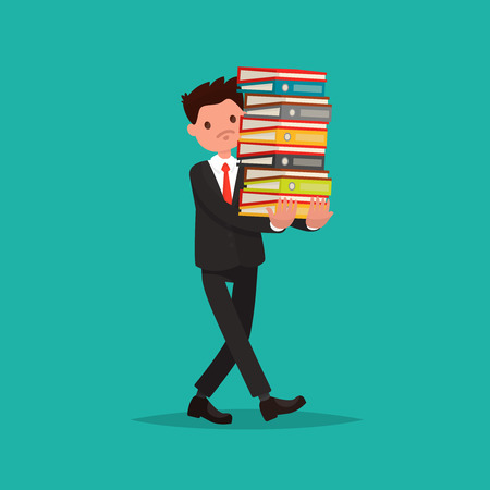 overwhelmed: Employee carries a large stack of documents. Vector illustration of a flat design Illustration