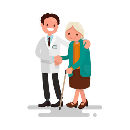 Male doctor helping a grandmother with a cane. Vector illustration of a flat design