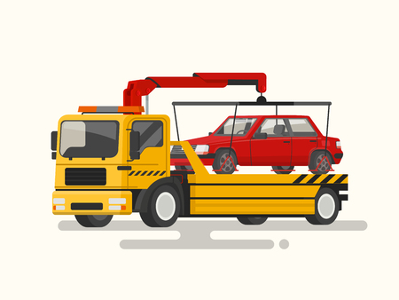 Tow truck transporting a broken machine. Vector illustration of a flat design Illustration