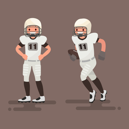 American football. Player posing, player is running with the ball in his hands. Vector illustration