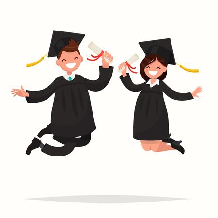 bounce: Guy and girl university graduates joyfully bounce. Vector illustration of a flat design