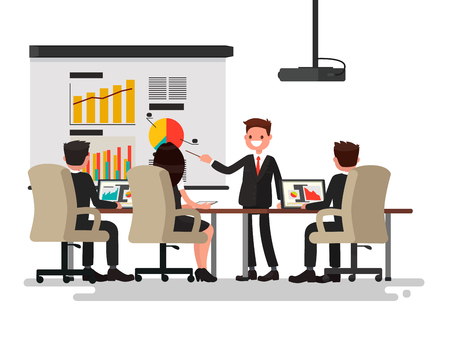 Business meeting. Presentation of the project. Man speaks before his colleagues. Vector illustration of a flat design Illusztráció